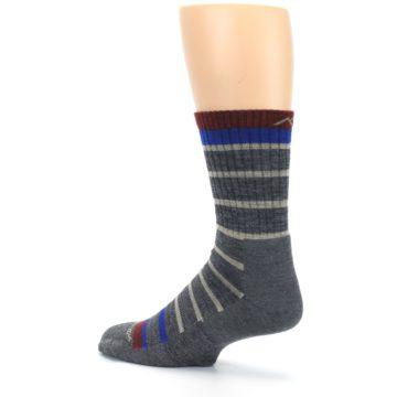 Image of Gray Cream Men's Wool Hiking Crew Socks (side-2-back-14)