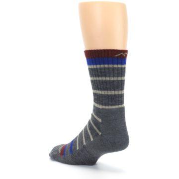 Image of Gray Cream Men's Wool Hiking Crew Socks (side-2-back-15)