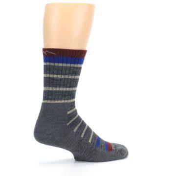 Image of Gray Cream Men's Wool Hiking Crew Socks (side-1-23)