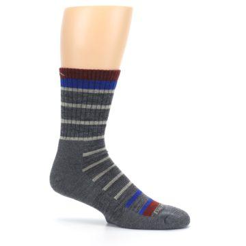 Image of Gray Cream Men's Wool Hiking Crew Socks (side-1-25)