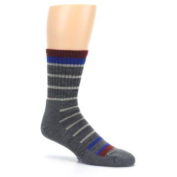 Image of Gray Cream Men's Wool Hiking Crew Socks (side-1-26)
