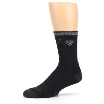 Image of Charcoal Green Appalachian Trail Men's Wool Hiking Socks (side-2-10)