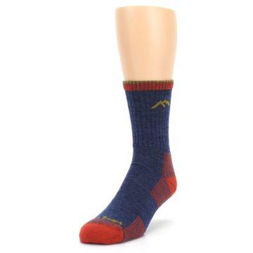 Image of Denim Blue Red Men's Wool Hiking Socks (side-2-front-07)