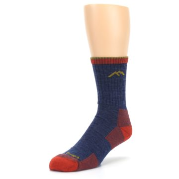 Image of Denim Blue Red Men's Wool Hiking Socks (side-2-front-08)