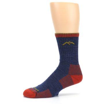 Image of Denim Blue Red Men's Wool Hiking Socks (side-2-10)