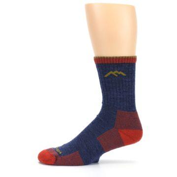 Image of Denim Blue Red Men's Wool Hiking Socks (side-2-11)