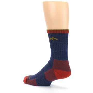 Image of Denim Blue Red Men's Wool Hiking Socks (side-2-back-14)