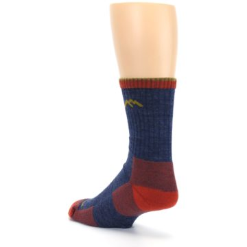 Image of Denim Blue Red Men's Wool Hiking Socks (side-2-back-15)
