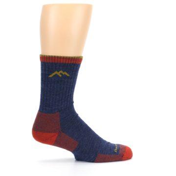 Image of Denim Blue Red Men's Wool Hiking Socks (side-1-24)