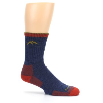 Image of Denim Blue Red Men's Wool Hiking Socks (side-1-25)
