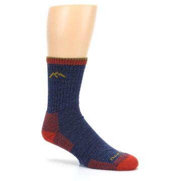 Image of Denim Blue Red Men's Wool Hiking Socks (side-1-26)