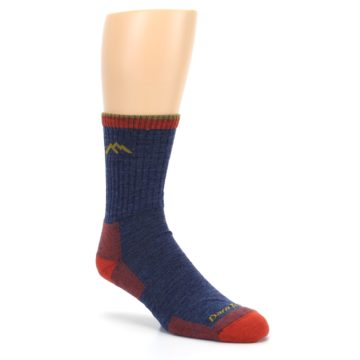Image of Denim Blue Red Men's Wool Hiking Socks (side-1-27)
