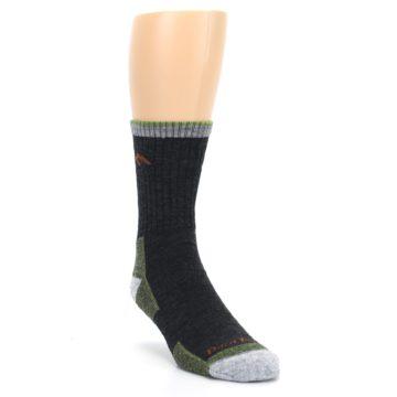 Image of Lime Dark Green Men's Wool Hiking Socks (side-1-front-02)