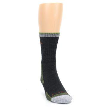 Image of Lime Dark Green Men's Wool Hiking Socks (side-1-front-03)