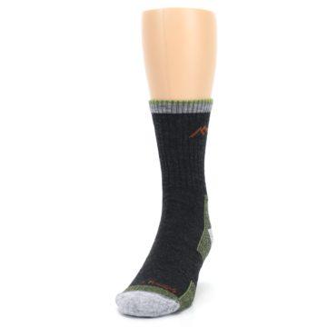 Image of Lime Dark Green Men's Wool Hiking Socks (side-2-front-06)