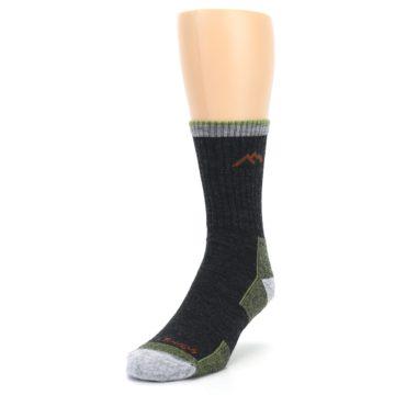 Image of Lime Dark Green Men's Wool Hiking Socks (side-2-front-07)