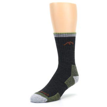 Image of Lime Dark Green Men's Wool Hiking Socks (side-2-front-08)