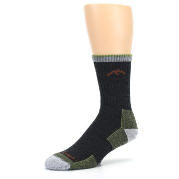 Image of Lime Dark Green Men's Wool Hiking Socks (side-2-09)
