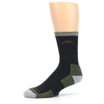 Image of Lime Dark Green Men's Wool Hiking Socks (side-2-10)