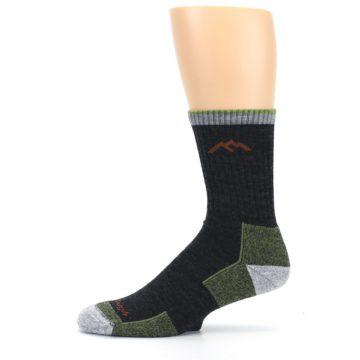 Image of Lime Dark Green Men's Wool Hiking Socks (side-2-11)