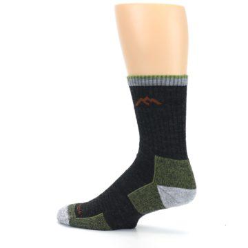 Image of Lime Dark Green Men's Wool Hiking Socks (side-2-13)