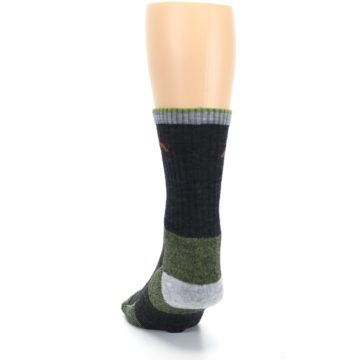Image of Lime Dark Green Men's Wool Hiking Socks (back-17)