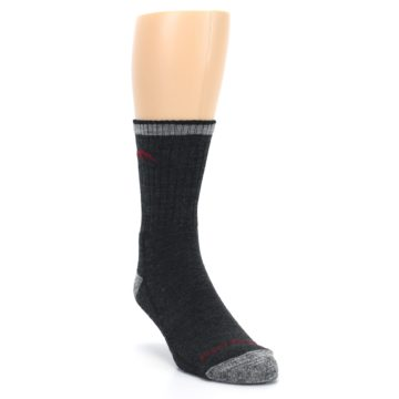 Image of Black Gray Men's Wool Hiking Socks (side-1-front-02)