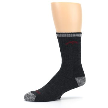 Image of Black Gray Men's Wool Hiking Socks (side-2-10)