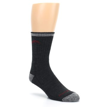 Image of Black Gray Men's Wool Hiking Socks (side-1-27)