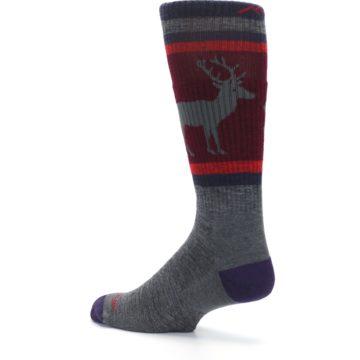 Image of Gray Maroon Men's Wool Buck Silhouette Hiking Socks (side-2-back-14)
