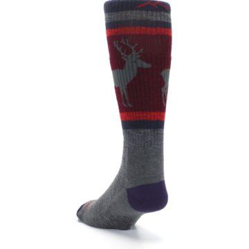 Image of Gray Maroon Men's Wool Buck Silhouette Hiking Socks (side-2-back-16)