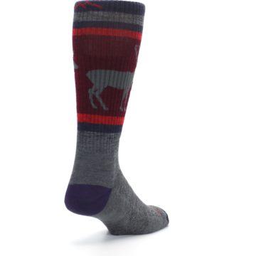 Image of Gray Maroon Men's Wool Buck Silhouette Hiking Socks (side-1-back-21)