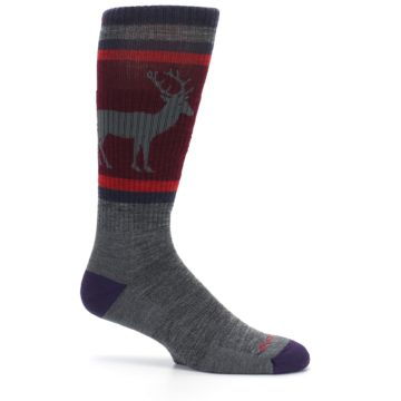 Image of Gray Maroon Men's Wool Buck Silhouette Hiking Socks (side-1-25)