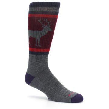Image of Gray Maroon Men's Wool Buck Silhouette Hiking Socks (side-1-26)