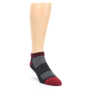 Image of Charcoal Red Men's Running Endurance Ankle Socks (side-1-front-02)