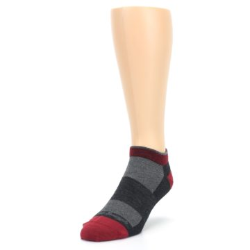 Image of Charcoal Red Men's Running Endurance Ankle Socks (side-2-front-07)