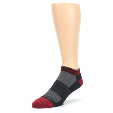 Image of Charcoal Red Men's Running Endurance Ankle Socks (side-2-front-08)