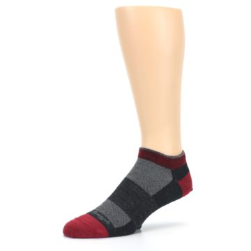Image of Charcoal Red Men's Running Endurance Ankle Socks (side-2-09)