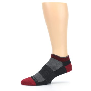 Image of Charcoal Red Men's Running Endurance Ankle Socks (side-2-10)