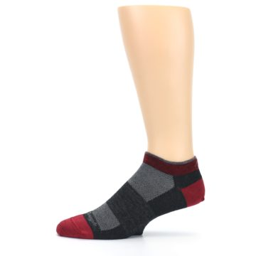 Image of Charcoal Red Men's Running Endurance Ankle Socks (side-2-11)