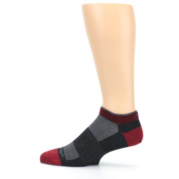 Image of Charcoal Red Men's Running Endurance Ankle Socks (side-2-12)