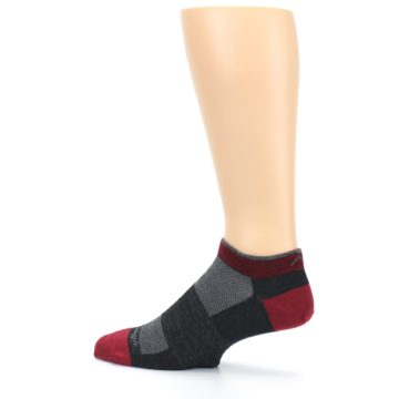 Image of Charcoal Red Men's Running Endurance Ankle Socks (side-2-13)