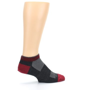 Image of Charcoal Red Men's Running Endurance Ankle Socks (side-1-23)
