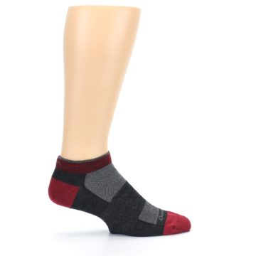Image of Charcoal Red Men's Running Endurance Ankle Socks (side-1-24)