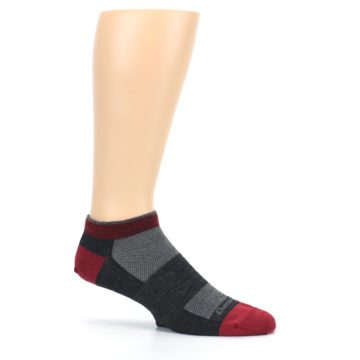 Image of Charcoal Red Men's Running Endurance Ankle Socks (side-1-25)