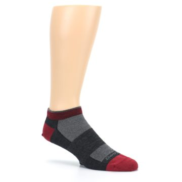 Image of Charcoal Red Men's Running Endurance Ankle Socks (side-1-26)