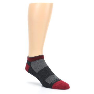 Image of Charcoal Red Men's Running Endurance Ankle Socks (side-1-27)