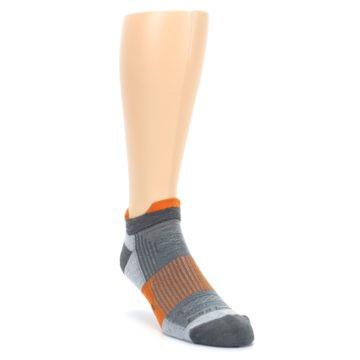 Image of Gray Orange Men's Running Endurance Ankle Socks (side-1-front-02)