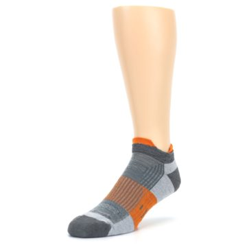 Image of Gray Orange Men's Running Endurance Ankle Socks (side-2-front-08)