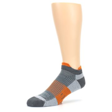 Image of Gray Orange Men's Running Endurance Ankle Socks (side-2-09)